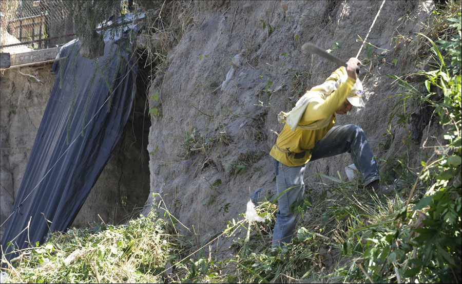 MOP-PNUD inicia construcción obras de protección en Talud Norte de Colonia Bello San Juan, Planes de Renderos, San Salvador