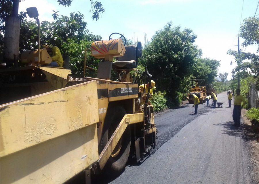 60% de avance pavimentación de 2.1 kilómetros de calles de Mercedes Umaña, Usulután
