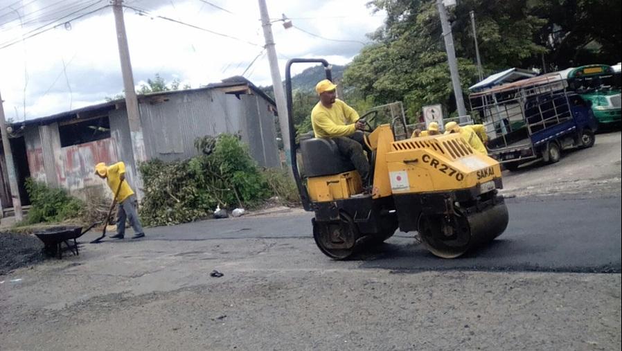 60% de avance reparación de 1.8 kilómetros de calles de la ciudad de San Vicente