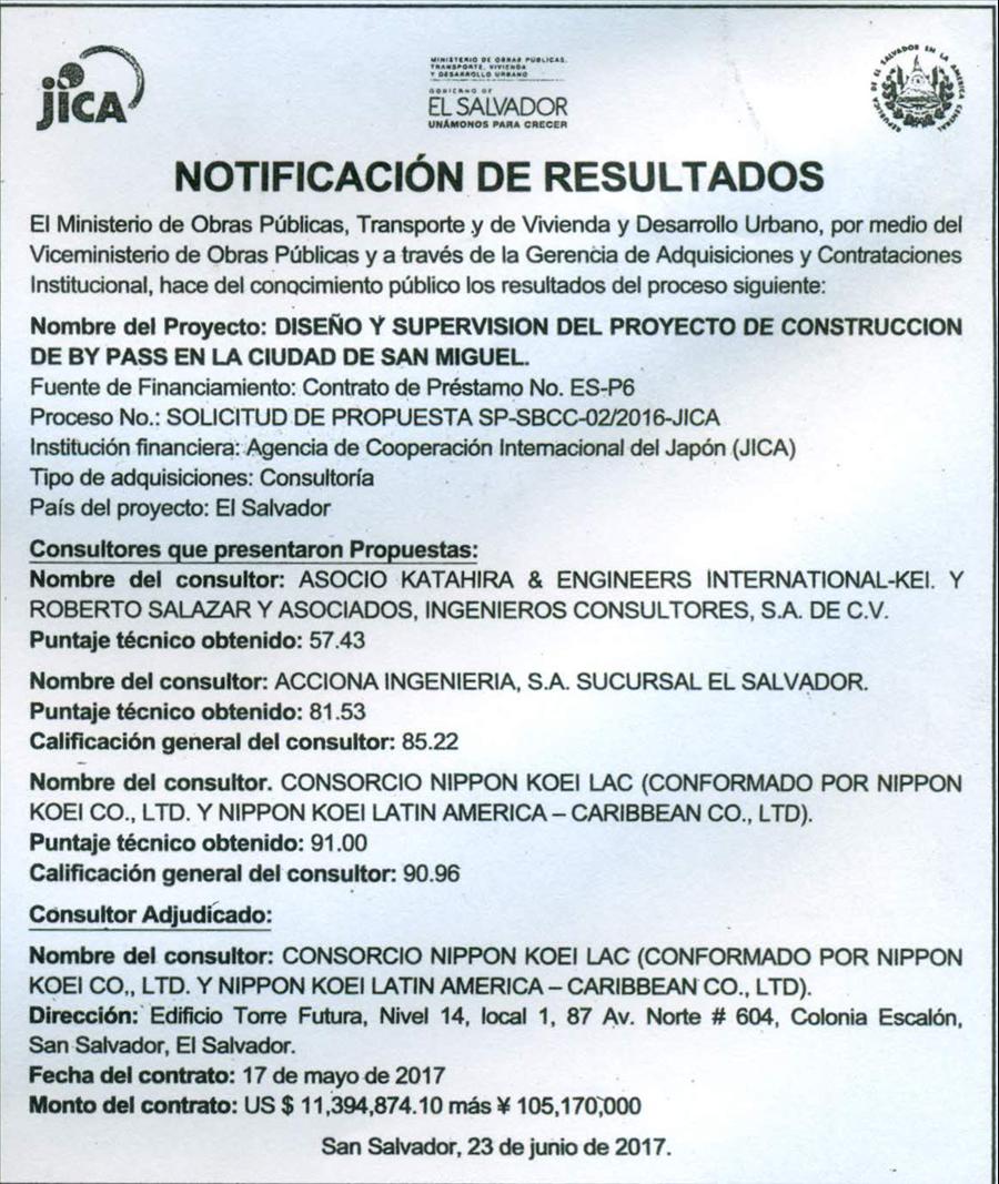 MOP-JICA publica resultados  del proceso de licitación de proyecto  Diseño y Supervisión del Proyecto de Construcción de By Pass en la Ciudad de San Miguel