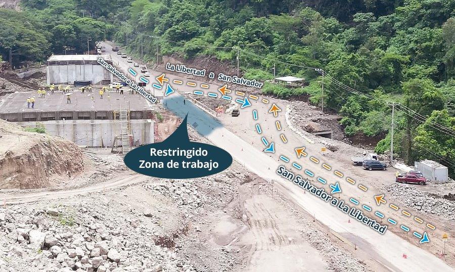 MOP habilita paso provisional por demolición de bóveda, carretera al Puerto de La Libertad