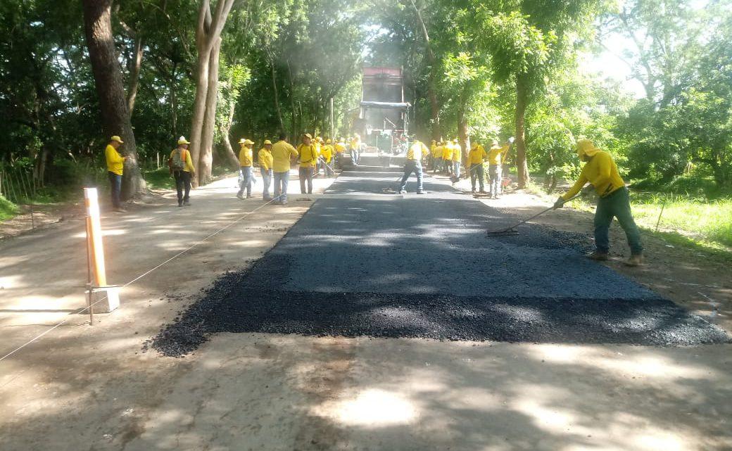 60% de avance en proyecto de pavimentacion ruta San Marcos Lempa Desvío El Zamorán, Jiquilisco, Usulután