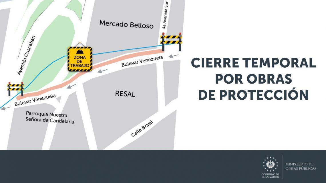 Cierre momentaneo en Bulevar Venezuela, altura Mercado Belloso por construcción Sistemas Urbanos de Drenajes Sostenibles (SUDS)